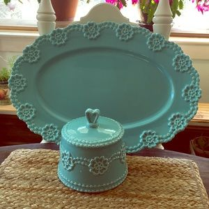 Aqua Platter/Sugar Bowl Set